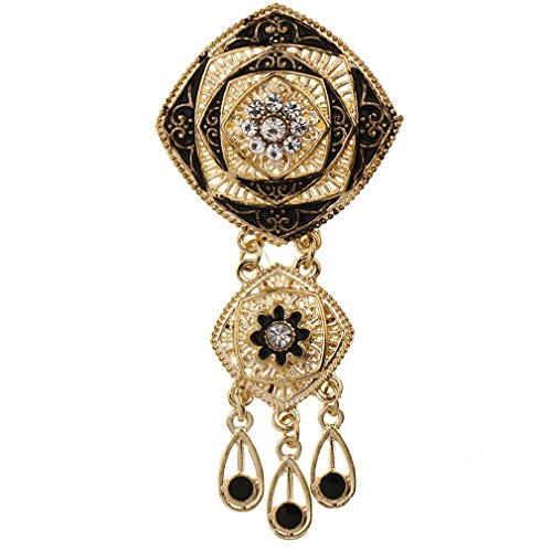YAZILIND Classical Hollow Square Flower Shape Rhinestone Brooch Pin Water Drop Pendant Women Jewelry (Black Rhinestone Flower Brooch)