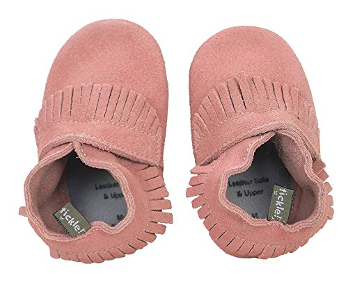 Tommy Tickle Soft Sole Leather Baby Shoes For Girls - Infant Girls Shoes, Toddler Girls Shoes (Large (12-18), Pink Suede Moc)