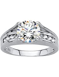 Platinum over Sterling Silver Round Simulated White Sapphire Engagement Ring