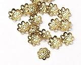 200 pcs Gold Bead Caps Beadcap Gold Plated Filigree Bead Caps Flower Bead Caps for 8mm