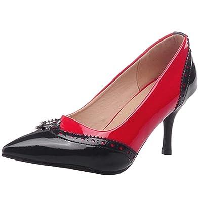 AIYOUMEI Stilettos High Heels Lack Pumps mit Schnalle und 8cm Absatz Mary Janes Damenschuhe(34-43)