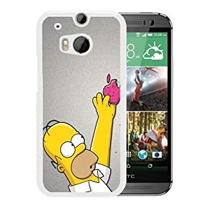 Popular And Lovely Designed Case For HTC ONE M8 With homer simpson and apple White Phone Case