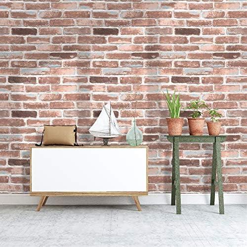 Homya 壁紙シール 53cmx6m レンガ調シール リメイクシート はがせる壁紙 接着剤不要 DIYシート 防水 防カビ ウォールステッカー
