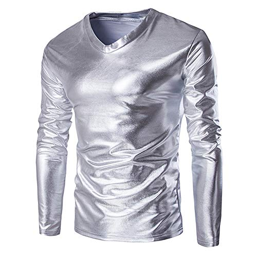 ZYEE Clearance Sale! Mens Blouse Metallic Shiny Wet Look Long Sleeve T-Shirt Top Slim Fit V Neck Blouse