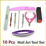 Unpre(TM) 10PCS Nail Art Set Nail Scissors Clipper File Brush Form Tweezers Cuticle Pusher DIY Manicure Kits