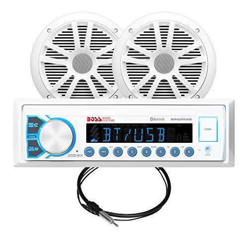 "Jon Boat Package (BOSS Audio MCK400WB.6 Marine Receiver & Speaker Package – Weatherproof Receiver, 6.5"" Weatherproof Speakers, Bluetooth Audio, USB/MP3, AM/FM Radio, No CD Player)"