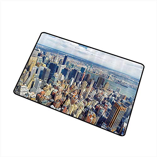 (Fashion Door mat Modern Aerial View of Manhattan Skyline High Skyscrapers Business Center USA Landscape W24 xL35 Personality Light Blue Grey)