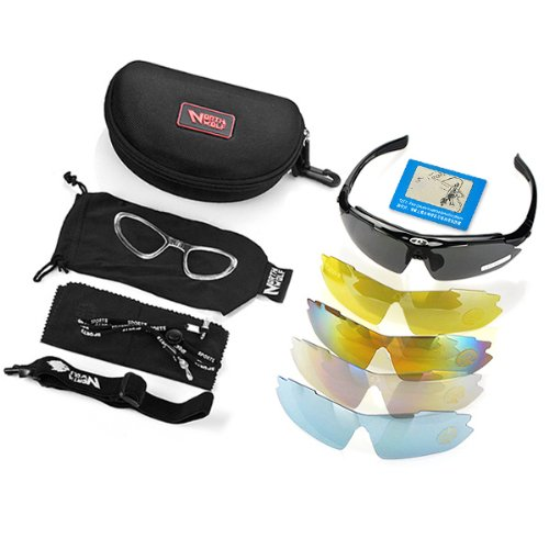 Anti Glare Scratch Black Frame Outdoor 5 Color Changeable Lenses Uv400 Polarized Sunglasses Glasses Complete Set + Carrying Case with Hook