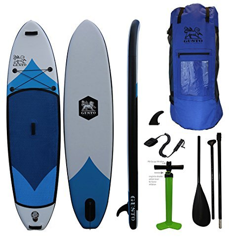 Gusto Paddle Sports 10'6'' Inflatable Stand Up Paddle Complete Package (6'' Thick 32'' Wide) Includes Travel Bag, Fin, Coil Leash, 3 Piece Adjustable Paddle Great For Yoga/ All Around