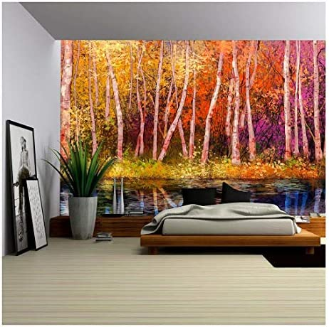 Oil Painting Landscape Colorful Autumn Trees Semi Abstract Image of Forest