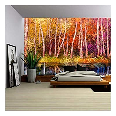 Oil Painting Landscape Colorful Autumn Trees Semi Abstract Image of Forest, Original Creation, Delightful Artistry