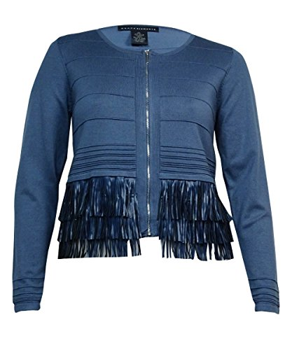 Grace Elements Long Sleeve Fringe Trim Gray Zipper Sweater Jacket Size Xl