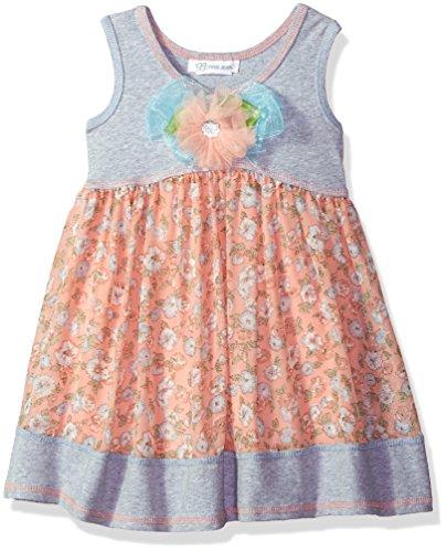 Sundress Jean Bonnie - Bonnie Jean Girls' Little Knit to Challis Print Dress, Peach 5