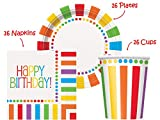 "Rainbow Birthday Party set Supplies for 16 guests - 16 Plates 9"", 16 Cups 9"" and 16 Napkins"