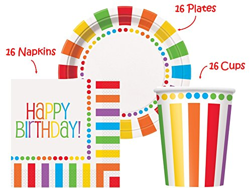 Rainbow Birthday Party set Supplies for 16 guests - 16 Plates 9