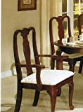 Beautiful Set Of 2 Cherry Finish Queen Ann Arm Chairs
