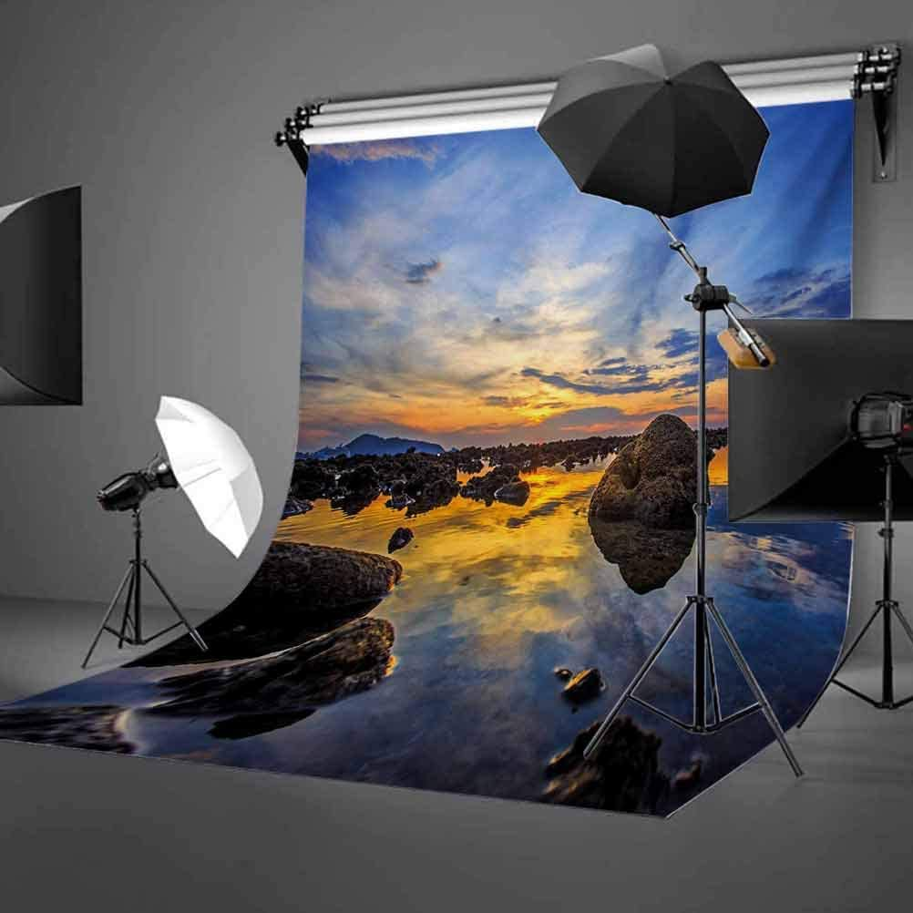 Tropical 6.5x10 FT Photo Backdrops,Twilight Rocky Sea Coast at Thailand Beach Exotic Night Dawn in Dramatic Image Background for Photography Kids Adult Photo Booth Video Shoot Vinyl Studio Props