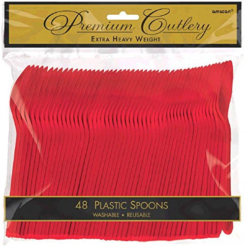amscan Apple Red Premium Heavy Dutyt Plastic Spoons, 48 ()