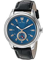 Lucien Piccard Mens Duval Quartz Stainless Steel and Black Leather Casual Watch (Model: LP-40032-03-RA)