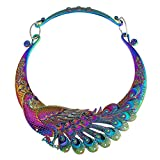 Women Fashion Large Costume Jewelry Vintage Peacock Statement Necklace Chunky Collar Choker
