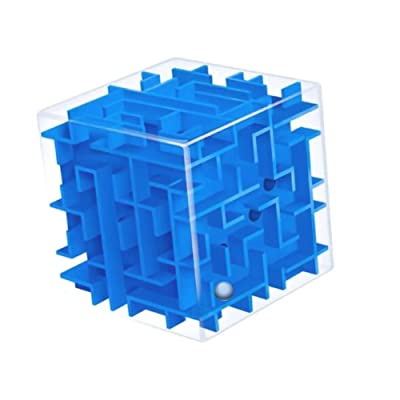 zhenleisier Kids 3D Maze Cubes Labyrinth Rolling Twist Toy Intellectual Challenge Puzzle Game Interactive Development Educational Kids Toy Gift Blue: Home & Kitchen