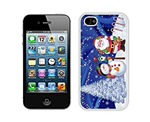 Iphone 4S Case,Christmas Snowman With Santa Claus Durability Apple Iphone 4 4s Silicone White Case