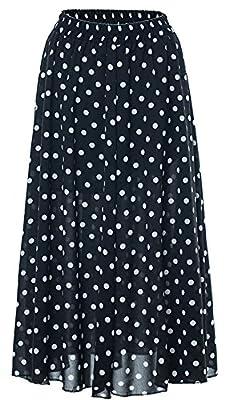 Chartou Women's Casual Contrast Polka Dot Chiffon Bohemia Swing Beach Midi A-Line Skirts