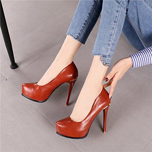 Resistente Retro La Zapatos Rojo De Temperamento De Ladrillo Ocio Superficial Los 12Cm Lady Al Por Los Fino Tac Agua Trabajo MDRW Zapatos Con La Muelle Moda Elegante Noche Boca WcCTangq