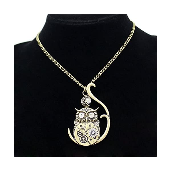 Q&Q Fashion Vintage Ornate 3D Owl Moon Watch Clock Hand Gear Cog Steampunk Chain Fancy Dress Necklace 4