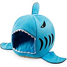 Shark Bed Lovely Pet House Puppy Beds Pet Cave with Removable Cushion and Damp-Proof Bottom for Small Dogs Cats