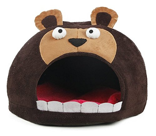 PET LIFE 'Roar Bear' Snuggle Plush Polar Fleece Fashion Designer Pet Dog Bed House Lounge, One Size, Dark ()