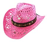 Vamuss Straw Cowboy Hat W/Vegan Leather Band & Beads, Shapeable Brim, Beach Cowgirl (Fuchsia)