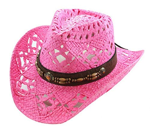 Vamuss Straw Cowboy Hat W/Vegan Leather Band & Beads, Shapeable Brim, Beach Cowgirl (Fuchsia)