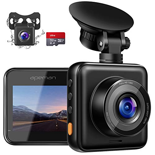 APEMAN Dual Lens Dash Cam for Cars Front and Rear with Night Vision and SD Card...
