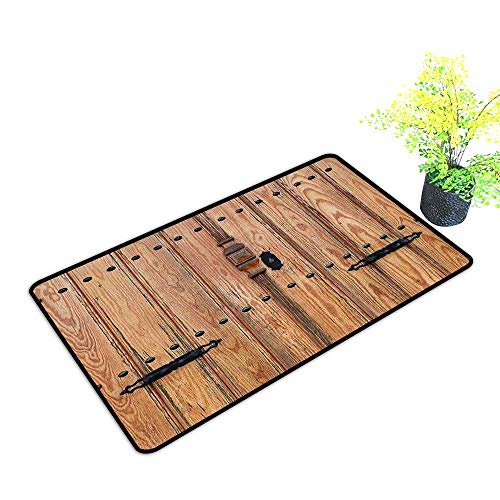 Diycon Non-Slip Door mat Rustic Wooden Door with Iron Style Padlock Gate Exit Enclosed Space of Building Picture W35 xL47 Easy to Clean Carpet Pale Brown
