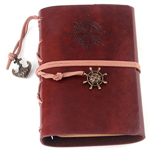 Vintage Leather Cover Journal Diary String Nautical (Black) - 5