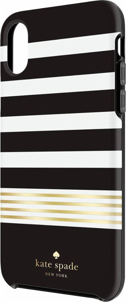 Kate Spade (kate Spade) iPhone X Hard Shell White & Black Border/Gold Stripes [parallel import goods]