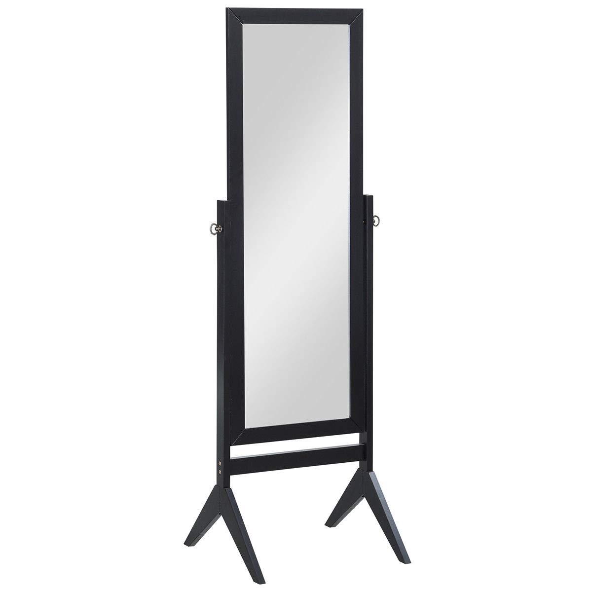 Giantex Bedroom Wooden Floor Mirror Full Length Cheval, 100% Solid Oak Wood Frame Rustic Rotary Swivel Mirror Stand, Free Standing Home Floor Dressing Mirror (Black Rectangular Mirror)