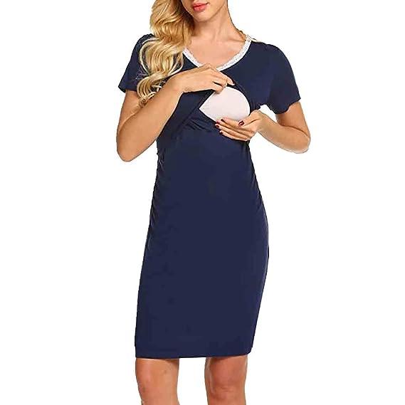 775d9d0c9 STRIR-Ropa Premamá de Lactancia Algodón Pijama para Mujer Vestido de  Lactancia Maternidad de Noche