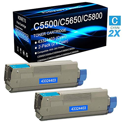 2-Pack (Cyan) Compatible C5500 C5500n C5500dn Printer Toner Cartridge Replacement for OKI Okidata 43324403 Toner Cartridge High Yield (10,000 Pages), by KDNETS 43324403 High Yield Toner