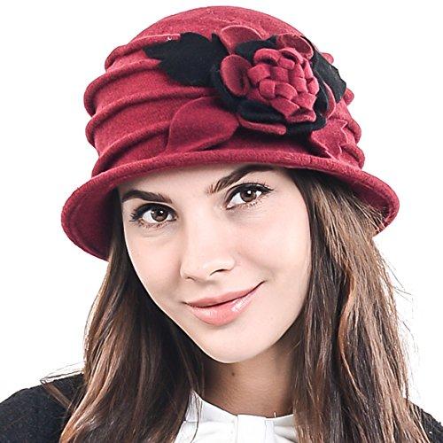 (F&N STORY Women's Elegant Flower Wool Cloche Bucket Ridgy Bowler Hat 09-co20 (Claret))