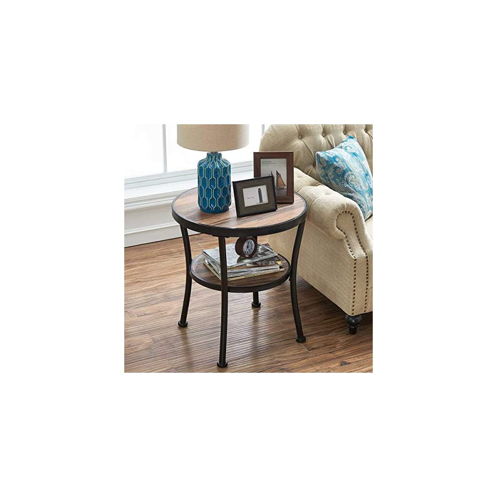 O&K Furniture Round End Table/Side Table/Nightstand - Rustic Industrial Style, Vintage Brown Finish(1-Pcs)
