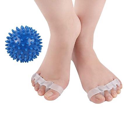 separatore per dita dei piedi dita a artiglio dita a martello dita storte Correttore per alluce valgo contro alluce valgo con 1 palla massaggiante