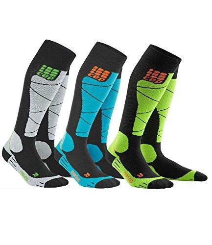 CEP Men's Progressive+ Ski Merino Socks Black-Grey Size 3 by CEP