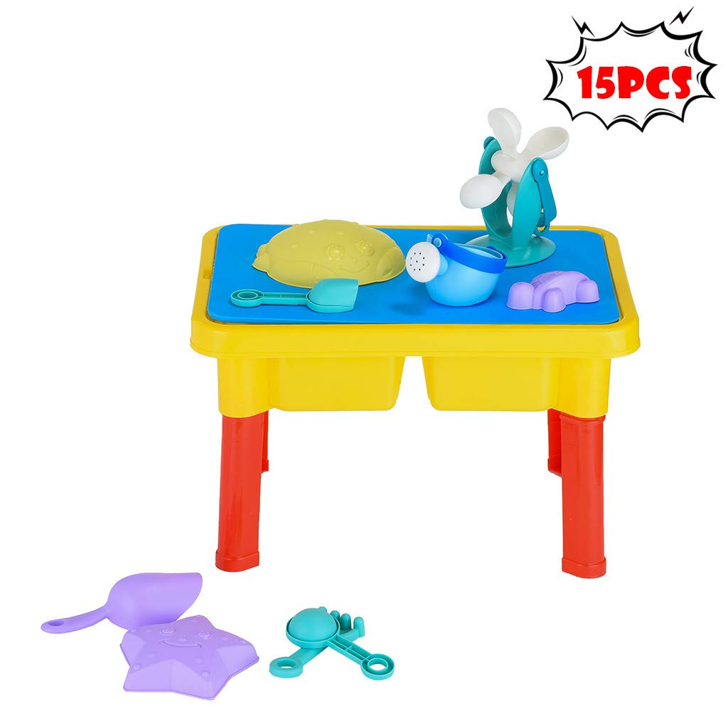 COLOR-LILIJ Children's 15PCS Toy Set Stool Game Table Stool 2 in 1, Summer Beach Toy Sandglass Play Kids Sand, Suitable for Girls and Boys Over 1.2.3 Years Old
