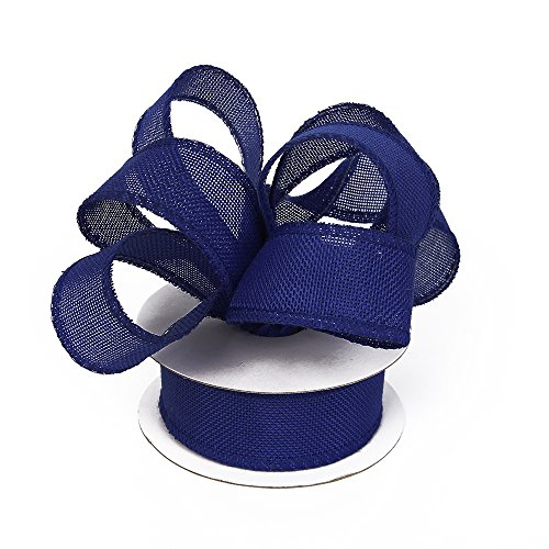 Burlap Ribbon Perfect for Wedding Home Decoration Gift Wrap Bows Made Handmade Art Crafts 1-1/2 Inch X 10 Yard Spool (Royal Blue) (Making Bows Out Of Ribbon For Wreaths)