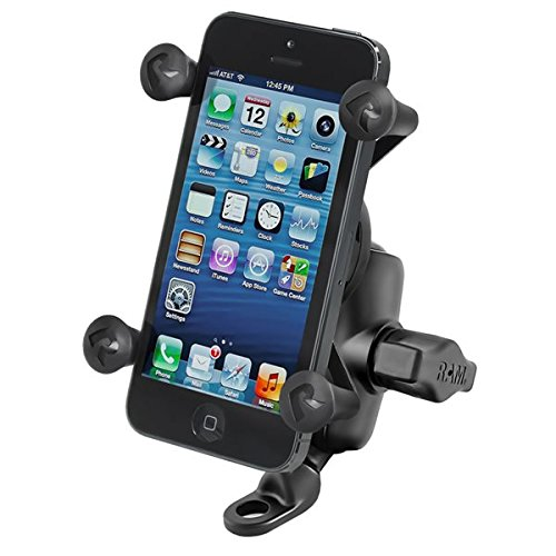 Motor Mount Base - RAM MOUNTS RAM-B-272-A-UN7 9 mm Angled Base Motorcycle Mount with Short Double Socket Arm and Universal X-Grip Cell/Iphone Holder