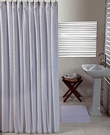Pan Overseas Waves Shower Curtain and Solid Cut Pile Bathmat Set Aqua 72 x 72//20 x 30 Better Trends