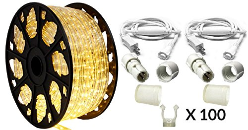 150' Outdoor Rated LED Rope Light Kit - 120V - UL Listed (Warm White, Premium Kit)