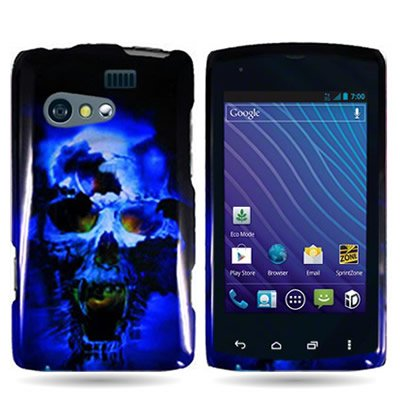 Kyocera Rise Case, CoverON [Snap Fit Series] Hard Design Slim Protective Phone Cover Case for Kyocera Rise C5155 - Blue Skull